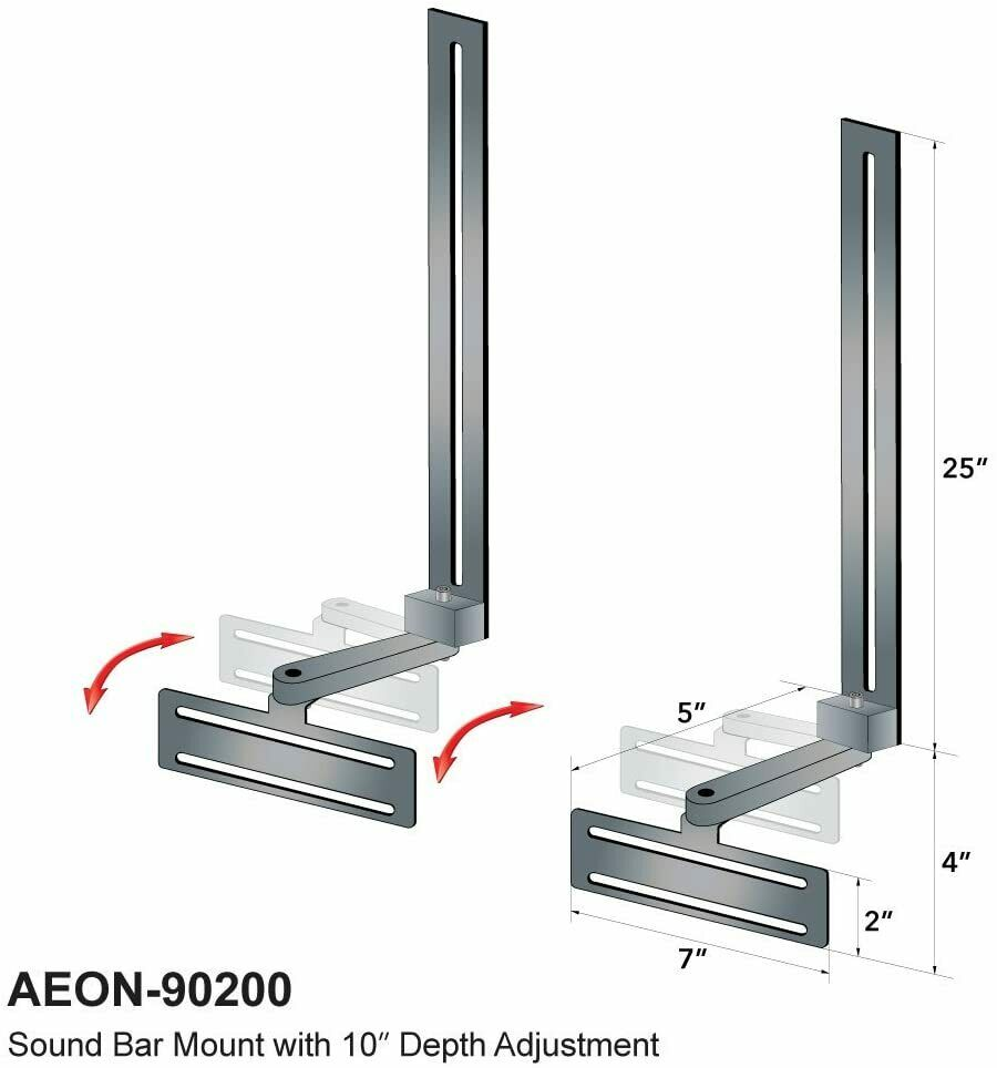 Aeon Soundbar Speaker Mount with Depth Adjustments for TV Wall Mount Brackets | Ebay