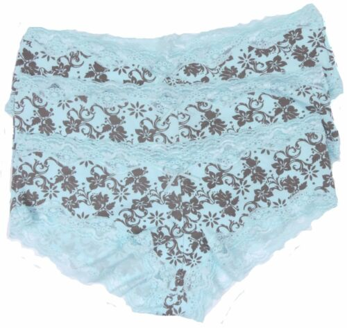Ladies Lace Boys Shorts French Knickers 3 Pack or 6 Pack Pink Or Aqua Size 8-14
