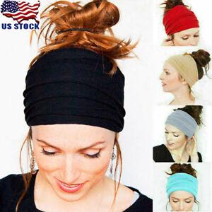 Women-Men-Yoga-Sports-Wide-Headband-Elastic-Boho-Hair-Band-Head-Wrap-Wristband