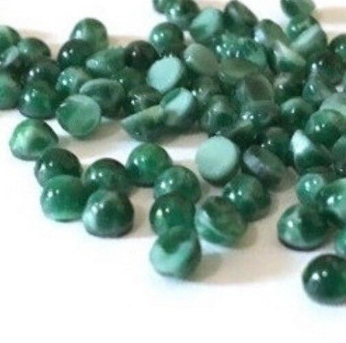 Qty 24 - VINTAGE 4mm Chinese Jade Green Glass Bumpy Top Flat Back Cabochons