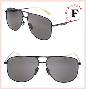 09ec93430b8 Image is loading GUCCI-0336-Black-Gold-Square-Unisex-Metal-POLARIZED-
