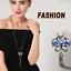 Women Rhinestone Crystal Butterfly Pendant Long Chain Sweater Necklace Fashion