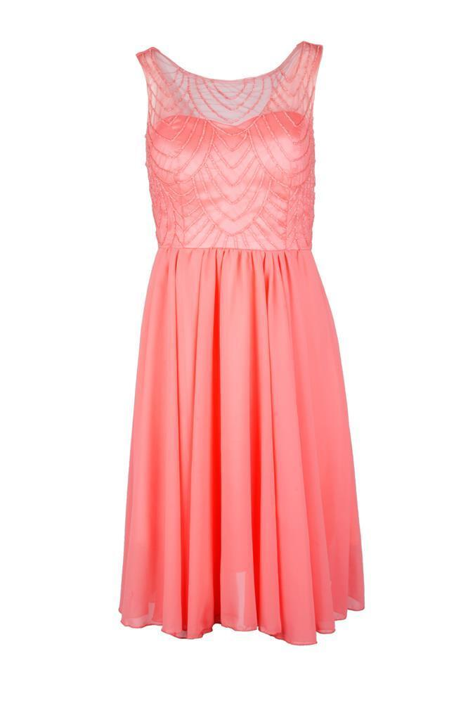 Kleid Eva&Lola R1273 Abendkleid Cocktailkleid Coral Gelb S M L NEU