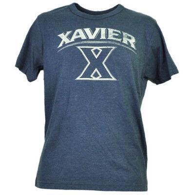 Baseball & Softball Ncaa Xavier Musketeers Blau Distressed Logo T-shirt Herren Adult Kurzärmelig Sport