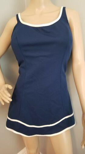 70's Robby Len Navy & White swim dress. XXL