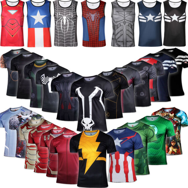 Marvel Compression T-shirt Vest Under Base Layer Sports Wear Cycling Tops Tights