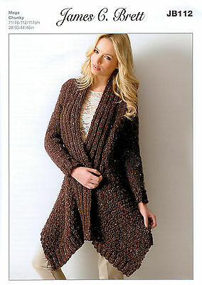 Ladies Jacket JB112 Knitting Pattern James C Brett Rustic Mega Chunky