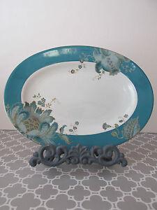 222 Fifth Eliza Teal Blue Paisley Floral Oval Platter Plate | eBay