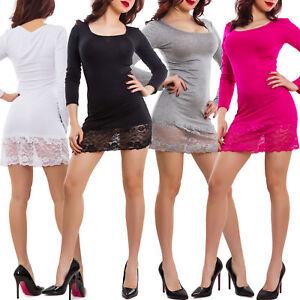 low priced 066f9 f23a7 Dettagli su Miniabito donna maxitop fondo pizzo floreale vestito maglia  basic sexy VB-420
