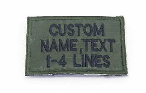 "CUSTOM NAME TEXT SAYING BIKER ARMY MILITARY GREEN HOOK PATCH 3/"" 6/"" x 2/"""