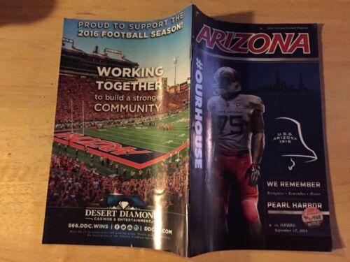 2016 Arizona Football Gameday Program Arizona-Hawaii