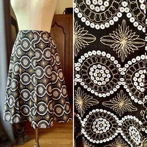 FOUCUS 2000 Boho Pleated Geometric Atomic Skirt Cotton S/P