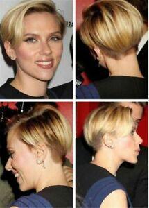 cute short hairstyle natural dark blonde straight women