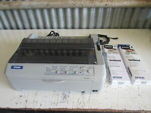 Epson-LQ-590-Impact-Printer-Dot-Matrix-Tractor-Feed-w-2-New-Ribbons-Nice-Shape