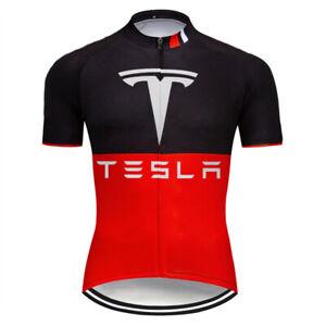 Short-Sleeve-Cycling-Jersey-Bike-Shirt-Clothing-MTB-Tesla-Ride-Sports-Wear-Top
