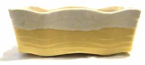 VTG-McCoy-MCM-Pottery-Rectangular-Planter-2-Toned-Yellow-White-Yellow-Veins-Cool