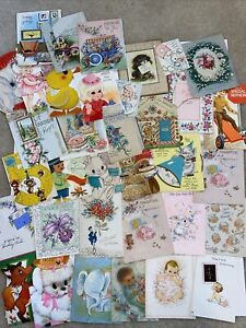 Vintage-Greeting-Cards-Lot-1940s-And-Up-35-Cards-Ephemera-Mixed-Lot-H