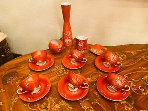 Vintage Red 6 Cups 6 Saucers German Waldershof Bavaria N Porcelain Coffee Set