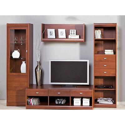Parete soggiorno Denver 2 finitura tinta ciliegio mobili per salotto  moderno | eBay