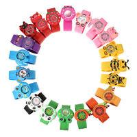 Cartoon Unisex Children Kid Sports Rubber Strap Quartz Snap On Slap Wrist Watch