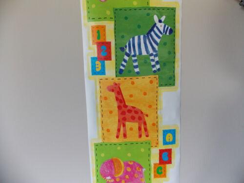 ANIMAL SAFARI NURSERY KIDS SELF ADHESIVE WALL SCROLL BORDER BRAND NEW 3m X 30cm