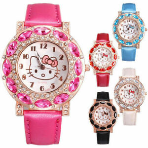 Hello-kitty-Quartz-Watch-for-girls-Leather-Crystal-Wristwatch-FREE-SHIPPING