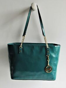 MICHAEL-KORS-New-Jet-Set-Chain-Tote-in-Deep-Sea-Green-Glazed-Leather-MSRP-268