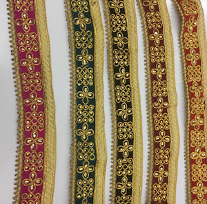 Indian-Ethnic-Lace-Colourful-Trim-Ribbon-Sewing-Craft-Wedding-Sari-Border-velvet