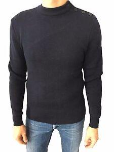 Details zu Saint james Pullover Herren Blau Mod Matelot 100% Wolle Made in France
