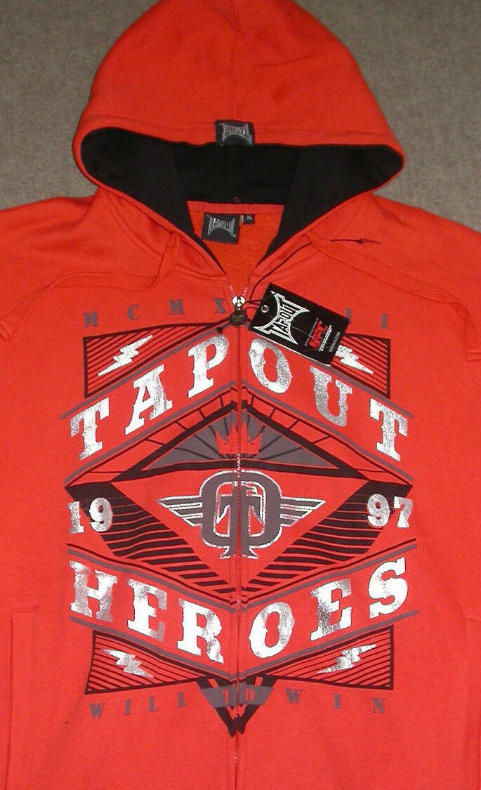TAPOUT ZIP UP HOODED SWEATSHIRT XL CROSSFIT GYM UFC WWE MUAY THAI BOXING MMA NEW