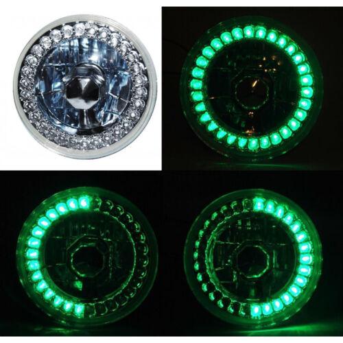 5-3//4 Halogen Motorcycle Green LED Halo Ring H4 Light Bulb Headlight For Harley