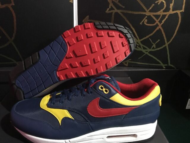 Nike Air Max 1 Premium Snow Beach Navy Vivid Sulfur White Gym Red 875844 403