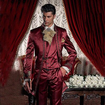 Herren Stickerei Anzug 3 Stück Burgund Hochzeit Anzug Feier Hochzeitsanzug | eBay
