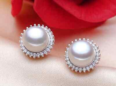 Damen Ohrringe Ohrstecker 925er Sterling Silber Süßwasser Perlen Aaa Rhodiniert
