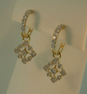 Details About 14k Yellow Gold Diamond Snowflake Earrings 55ctw