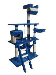 Poteau à chat Poteau à chat bleu-beige Rôle du jeu Arbre à chat 141cm Arbre grimpant