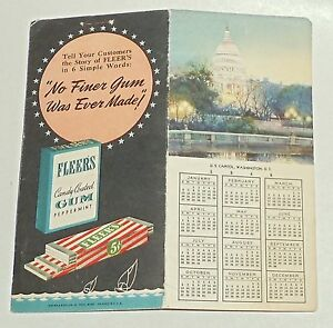 1946-Fleer-039-s-CANDY-Coated-GUM-Peppermint-Notepad-CALENDAR-US-Capitol