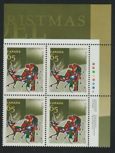2002 Canada SC# 1966 UR - Christmas Aboriginal Art Plate Block M-NH Lot # 3519b