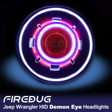 "7"" Demon Eye Headlight, HID Projector Headlights with Halo, Angel Eye all in one"