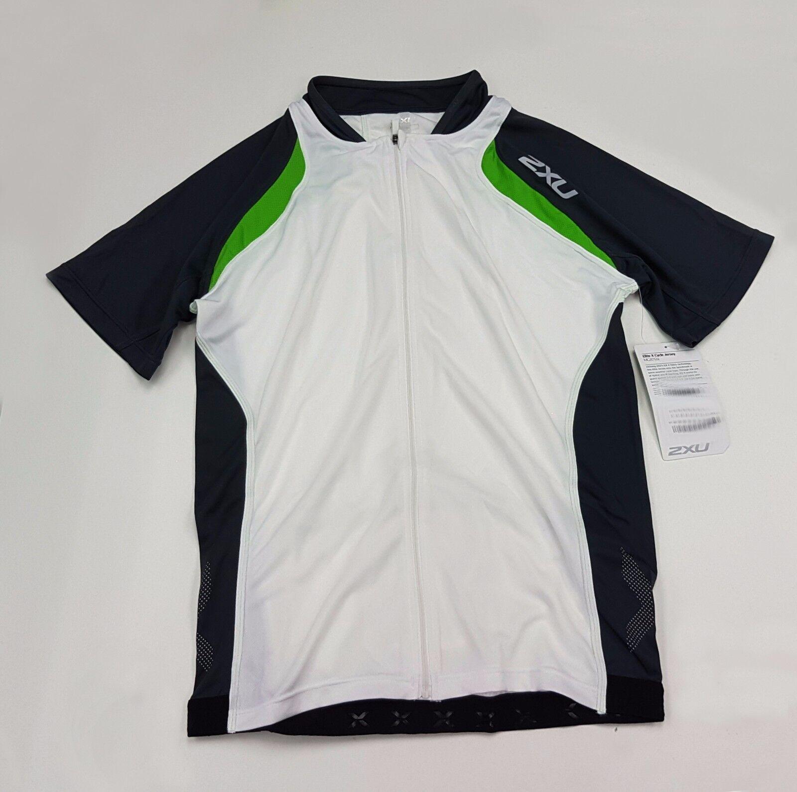 2XU Elite X Cycle Men's Short  Sleeve Jersey  White + Green Size XL  general high quality