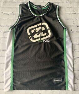 BILLABONG-MEN-039-S-MEDIUM-BASKETBALL-JERSEY-TANK-TOP-BLACK-GREEN-WHITE-EMBROIDERED