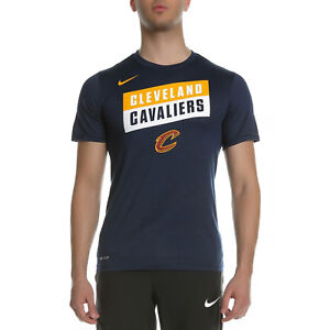 f6df1f0c4 Nike NBA Cleveland Cavaliers Dry Logo New Mens T-Shirt Navy Yellow ...