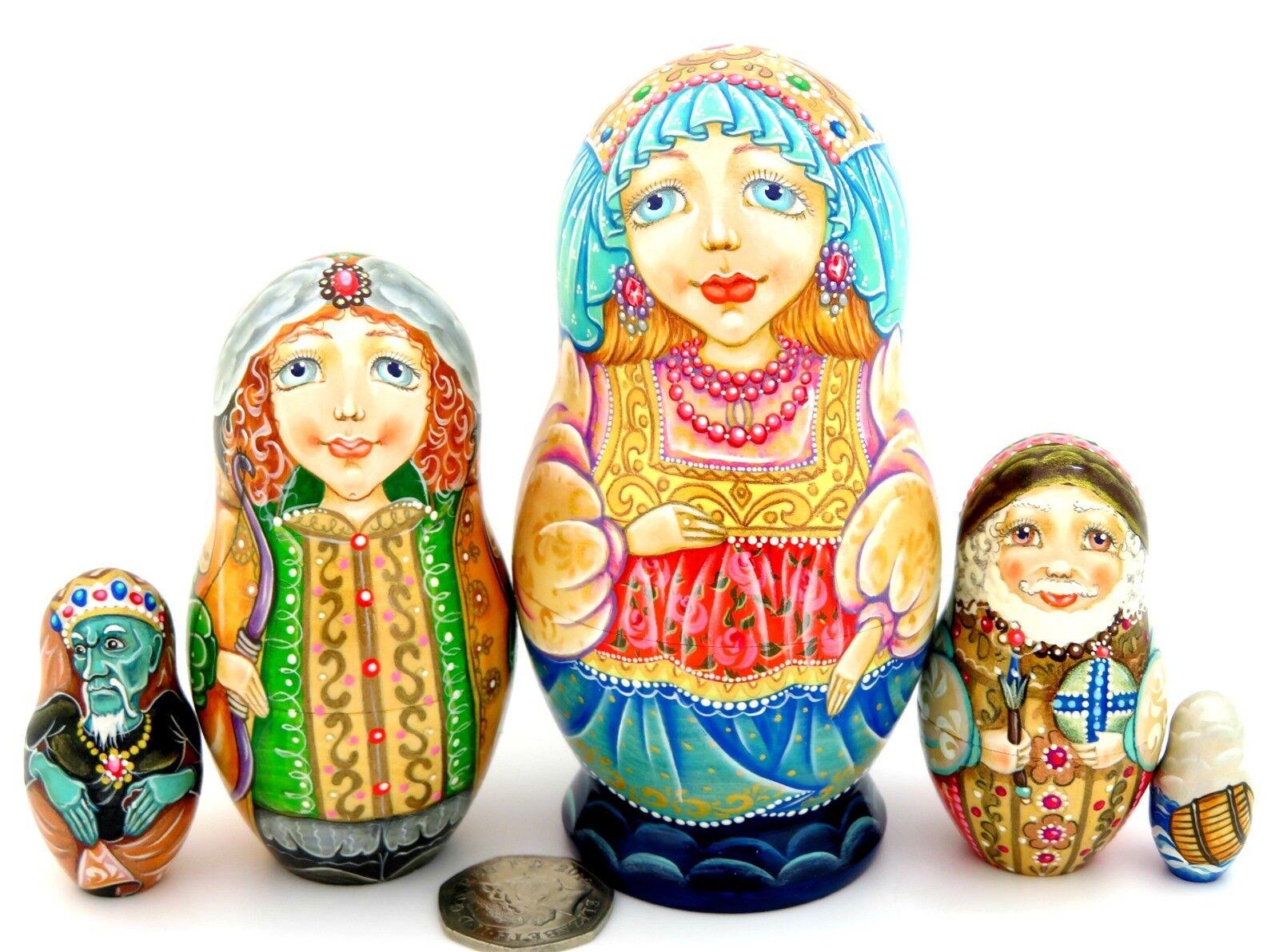 Pushkin Fiaba dello Zar Saltan MATRYOSHKA originale russa 5 nidificazione bambole firmato