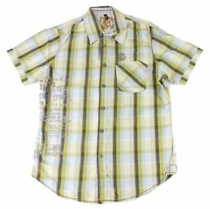 Projek-Raw-Mens-Shirt-Green-Blue-Size-Large-L-Button-Down-Plaid-Printed-49-006