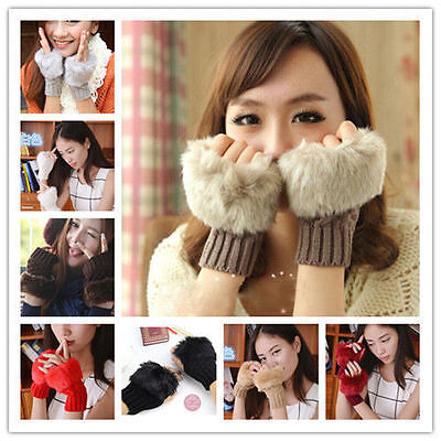 New Fashion Women's Knitted Fingerless Winter Gloves Unisex Soft Warm Mittens