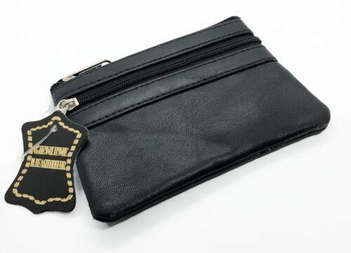 Genuine Leather Coin Purse ID Badge Key Chain Change Zip Holder Men Women