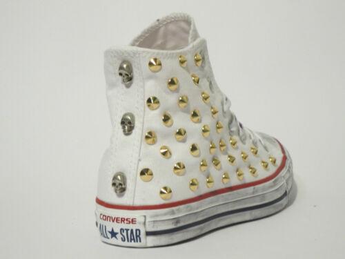 Converse Donna Artigianali Scarpe All E Oro Star Uomo Bianco Hi Teschi Borchie rBwr8xP