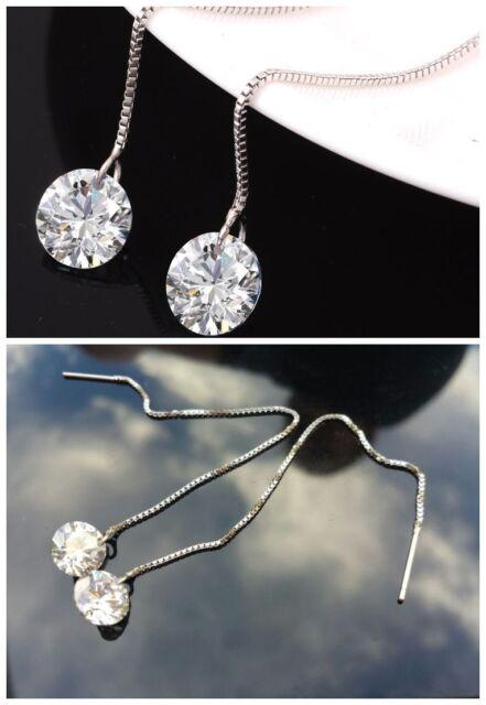 Genuine 925 Sterling Silver Classic Bling Shiny Swarovski crystal Earrings