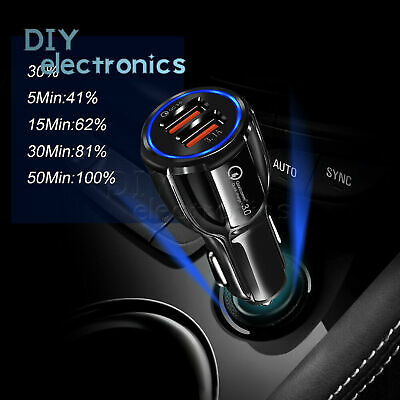 6.2A Fast Charge QC 3.0 Dual USB Car Charger Quick Charging for Samsung iPhone