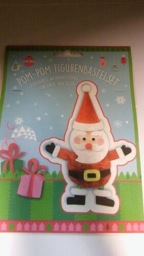 Pom-Pom Bastelset Rentier Weihnachtsmann Pinguin Schneemann basteln Weihnachten